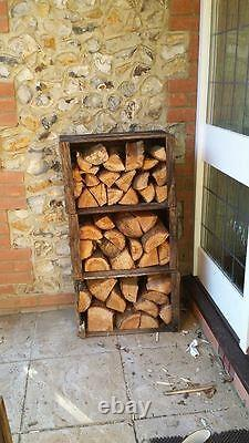 3 x VINTAGE WOODEN APPLE FRUIT CRATES RUSTIC OLD CHARECTOR LOG STORE / STORAGE