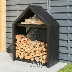 3x2 ROWLINSON BLACK APEX WOODEN LOG STORE TIMBER PAINTED NEW LOGSTORES 3ft 2ft
