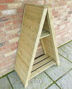 3x2 TRIANGLE LOGSTORE TONGUE STORAGE FIREWOOD RACK LOG STORE WOODEN TIMBER WOOD