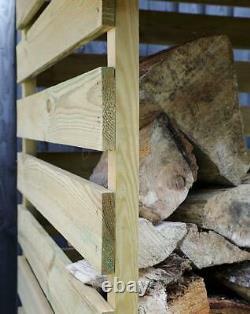 3x3ft Heavy Duty Wooden Outdoor Log Store Firewood Garden Storage Wood Logs Shed