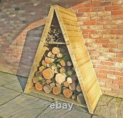4x2 TRIANGLE LOGSTORE OVERLAP STORAGE FIREWOOD RACK LOG STORE WOODEN TIMBER WOOD