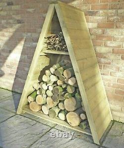 4x2 TRIANGLE LOGSTORE TONGUE STORAGE FIREWOOD RACK LOG STORE WOODEN TIMBER WOOD