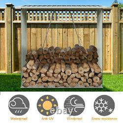 5.3FT Wooden Garden Outdoor Log Firewood Burner Store Storage Shed Shelf withRoof
