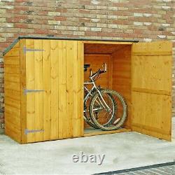 6x2ft Wooden Garden Shed Bike Log Store Timber Door Overlap Pent Outdoor Storage