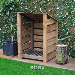 Burley 4ft Outdoor Wooden Log Store Reversed Roof UK HAND MADE