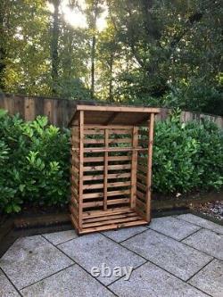 Charles Taylor Wooden Log Wood Store Kindling Shelf Garden Storage Medium