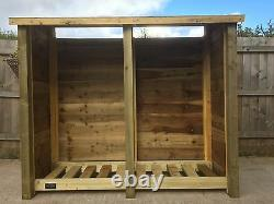 Cherrbrook 2m Wide Outdoor Wooden Log store Available With Doors And Shelf
