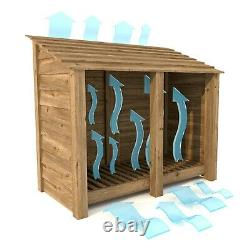 Cottesmore 4ft Outdoor Wooden Log Store Reversed Roof UK HAND MADE