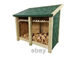 Delux Double Bay 4ft Wooden Outdoor Log Store, Covered With Bitumen Felt Tiles