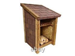 Delux79 Single Bay 4ft Wooden Outdoor Log Store, Covered With Bitumen Felt Tiles