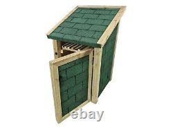 Delux79 Single Bay 4ft Wooden Outdoor Log Store With Doors Covered in Felt