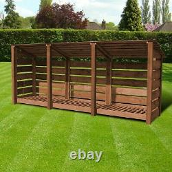 Empingham 4ft Outdoor Wooden Log Store Reversed Roof UK HAND MADE
