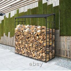 Extra Large Outdoor Wooden Log Store Metal Garden Shed Firewood Stacking Storage