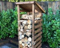 Extra Tall Large Wooden Log Store Firewood Fire Wood Logs Storage Shed Garden