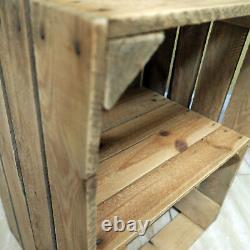 FIre side log store / Fire place log basket Rustic reclaimed wooden shelf unit