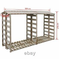 Firewood Storage Shed 300x90x176 Impregnated Pinewood Fire wood wooden Log Store