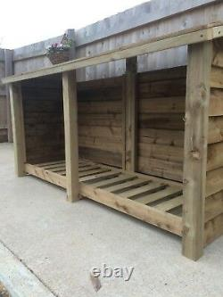 Foxworthy 8ft Wide Outdoor Wooden Log store Available With Doors And Shelf