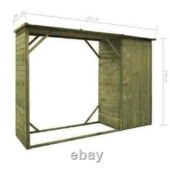 Garden Firewood Tool Storage Shed Pinewood 253x80x170 cm Wooden log store