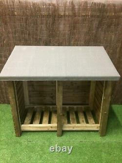 Gidleigh 5ft Wide Outdoor Wooden Log Store With Felt Roof With Optional Extras