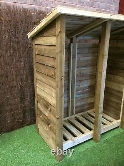 Gidleigh 5ft Wide Outdoor Wooden Log store Available With Reversed Roof