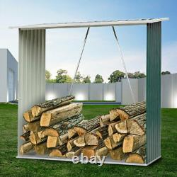 Green Wooden Log Store Wood Firewood Outdoor Garden Storage Logs Shed with Roof