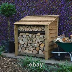 Greetham 4ft Outdoor Wooden Log Store Also Available With Doors UK Hand Made