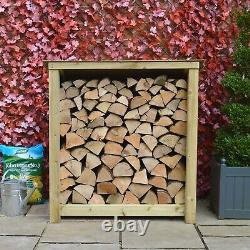 Greetham 4ft Outdoor Wooden Log Store Reversed Roof UK HAND MADE