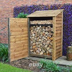 Greetham 6ft Outdoor Wooden Log Store Also Available With Doors UK Hand Made