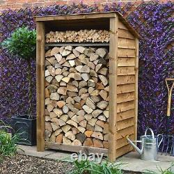 Greetham 6ft Outdoor Wooden Log Store Reversed Roof UK HAND MADE