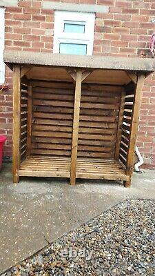 HEAVY DUTY DOUBLE BAY WOODEN LOG STORE collection only from PE34