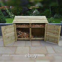 Hambleton 4ft Outdoor Wooden Log Store Also Available With Doors- UK Hand Made