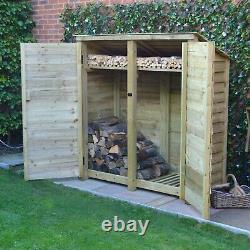 Hambleton 6ft Outdoor Wooden Log Store Reversed Roof UK HAND MADE