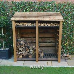 Hambleton 6ft Wooden Log Store Also Available With Doors UK Hand Made