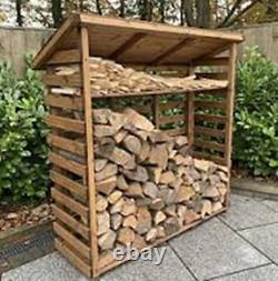 Hand Made Chunky Rustic Large Wooden Sherwood Garden Log Store With Kindle Shelf