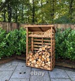Hand Made Chunky Rustic Medium Wooden Sherwood Garden Log Store Kindle Shelf