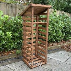 Hand Made Chunky Rustic Small Wooden Sherwood Garden Log Store With Kindle Shelf