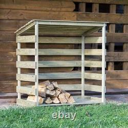 Harrier Wooden Log Store HEAVY-DUTY STORAGE RACK Outdoor Wood/Firewood Shed