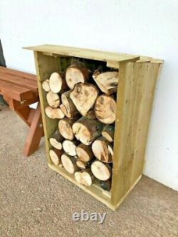 Heavy Duty Hand Made Small Wooden Log Store Treated Timber Wood Firewood