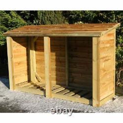 Heavy Duty Wooden Outdoor Log Store Firewood Garden Storage Wood Logs Shed 4x6ft
