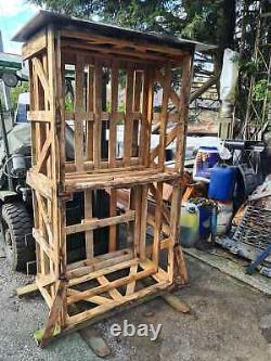 High quality solid hard wood crate Wooden LOG STORE 200cm high Firewood storage
