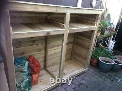 LARGE WOODEN LOG STORE ASSEMBLED, with kindling shelves, tanalised wood