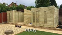 Large Garden Shed With Log Store Pent Roof Wooden Outdoor Summer House 30x10ft