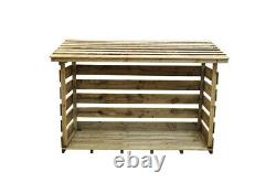 Large Slatted Wooden Outdoor Log Wood Store