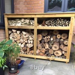 Large Wooden LogStore, 4ft hi x 6ft wide, Assembled, tanalised, full kindle shelf