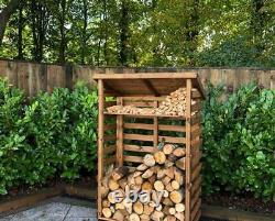 Large XL Wide Tall Wooden Log Store Firewood Fire Wood Logs Storage Shed Garden