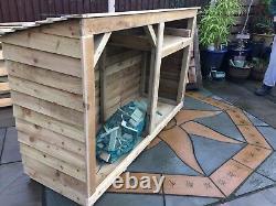 Large wooden Log store, 4 ft hi x 6 ft wide, Assembled, tanalised kindle shelf