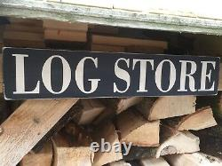 Log Store Sign Vintage Old Cottage Style Wooden Handmade Plaque Logs Holiday
