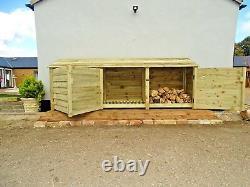 Log Store Wooden Outdoor Garden Shed W-3350mm x H-1260mm x D-810mm Heavy Duty