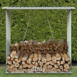 Metal Outdoor Log Store with Roof Garden Patio Wooden Firewood Stackable Storage