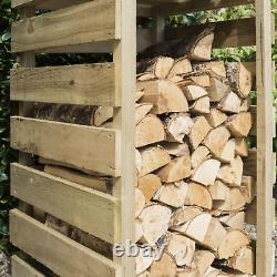 Natural Wooden Narrow Log Storage Outdoor Timber Store Shed Tall Firewood Garden